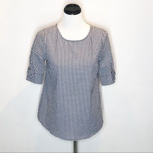 Crown and Ivy Gingham Bow Sleeve Top Size XSmall